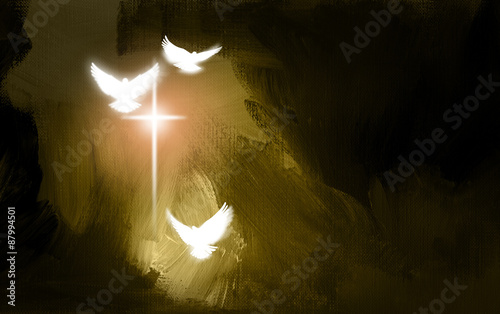 Valokuva  Spiritual Doves and Salvation Cross / Art symbolic of the salvation of Jesus Christ