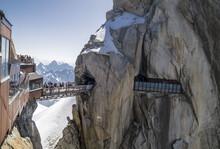 Amazing Suspension Footbridge Between Tho Peaks On Aiguille Du Midi,3842m, Mont Blanc Massif, France .