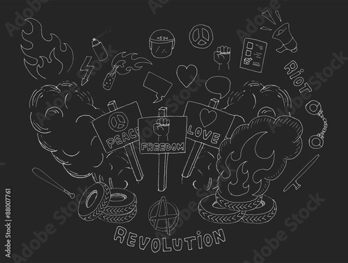 Doodle Sketch Art Protest Symbols Flames Heart Anarchy Peace