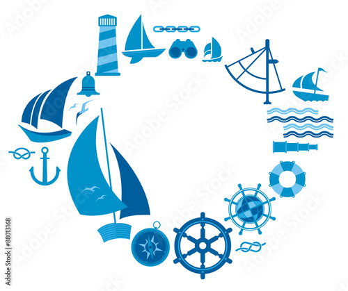 composition with sailing symbols buy this stock vector and