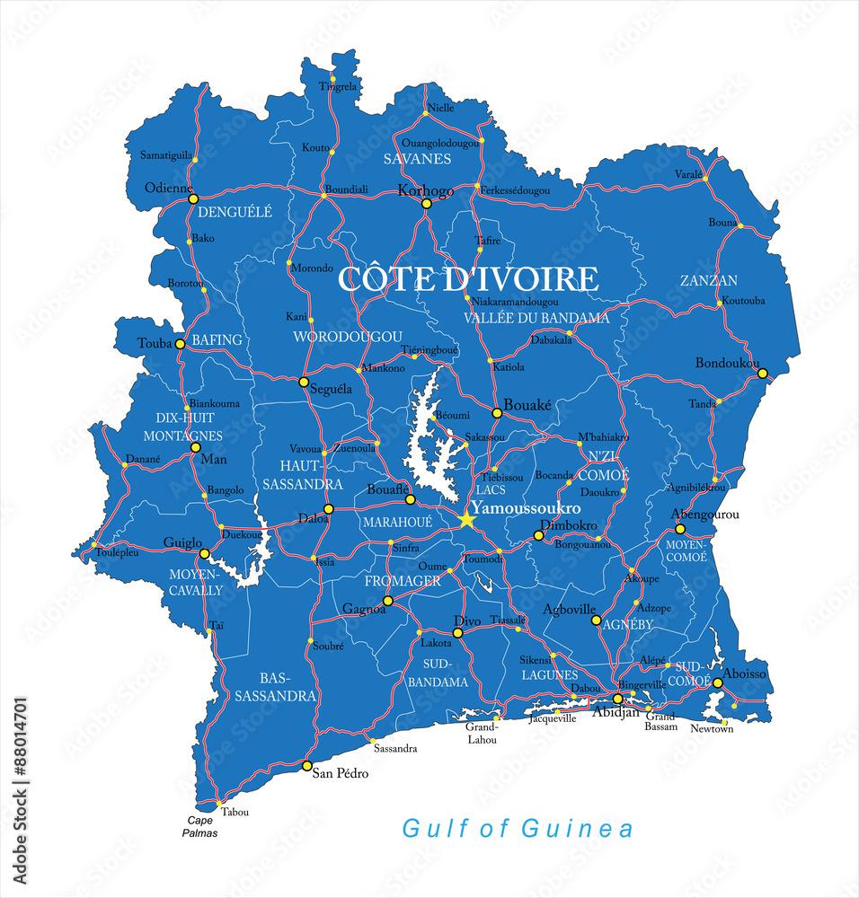 Cote d\'Ivoire map Foto, Poster, Wandbilder bei EuroPosters