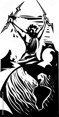 Photo  Woodcut Zeus and Earth