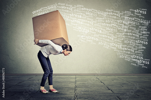 Fotografia  Stressed woman carrying on her back shoulders large box.