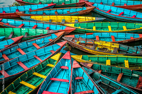 Tuinposter Nepal Colorful boats