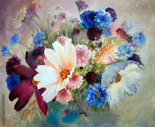 akwarela-malarstwo-pieknych-kwiatow
