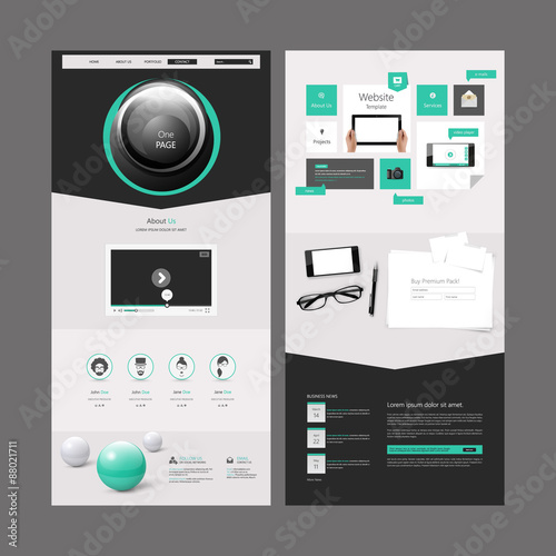 Fototapeta One Page Website Template Design Vector Eps 10 obraz na płótnie