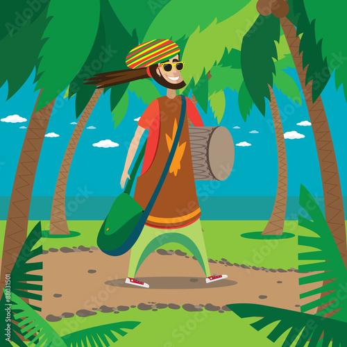 Photo  Rasta man walking