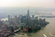 new york manhattan aerial view on foggy day