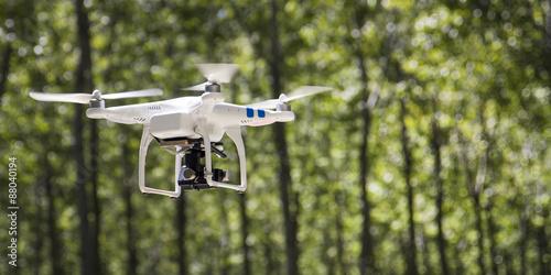 Fototapeta UAV drone flying outdoor. obraz