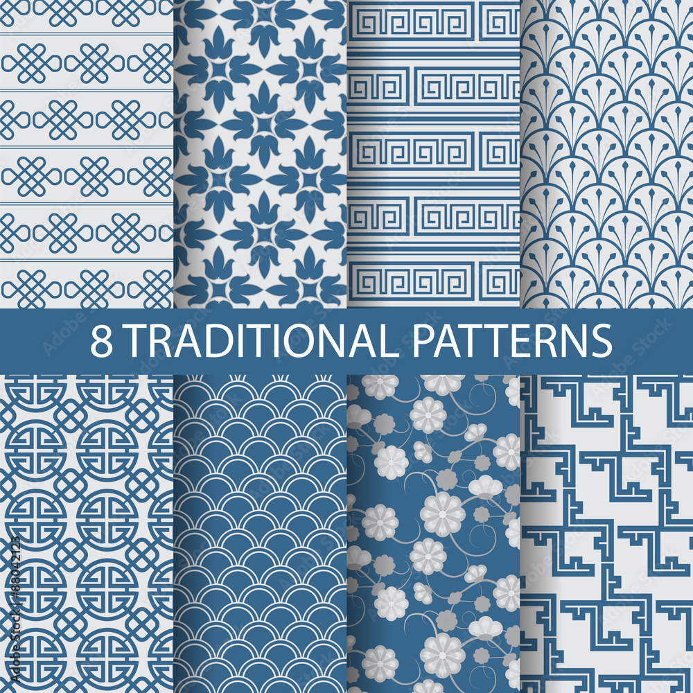 blue chinese patterns