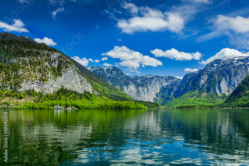 Poster Bergen Hallstatter See mountain lake in Austria