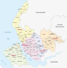 Metropolitan County Merseyside Administrative  Map