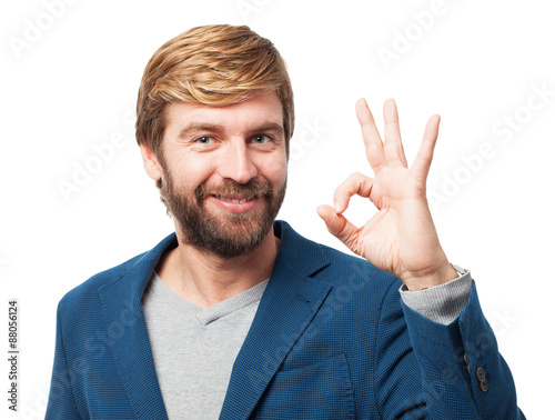 Photo happy businessman allright sign