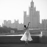Ballerina dancing in the center of Moscow in the morning - 88062345