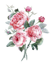 Classical Vintage Floral Greeting Card, Watercolor Bouquet Of