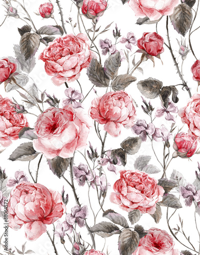 Classical vintage floral seamless pattern, watercolor bouquet of