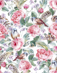 Fototapeta Style Watercolor floral vintage seamless pattern with roses birds and
