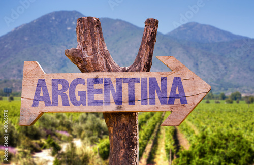 Fotografie, Obraz  Argentina wooden sign with winery background