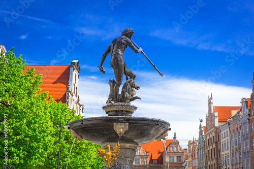 Fountain of the Neptune in old town of Gdansk, Poland Wallpaper Mural