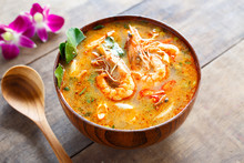 Tom Yam Kung ,thai Food In Wooden Bowl