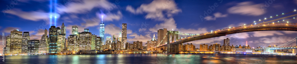 Fototapeta Manhattan panorama in memory of September 11, New York City