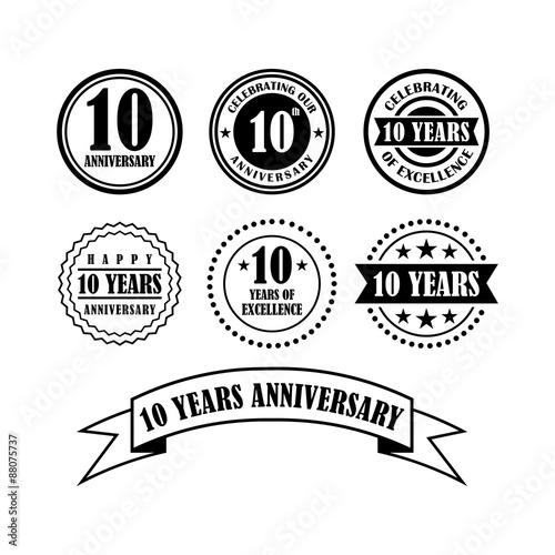 Valokuva  Cool Emblem of 10 - Ten Year Anniversary Vector Bundle