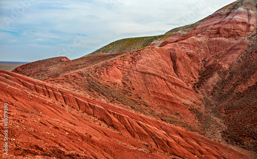 Spoed Foto op Canvas Rood traf. Landscape of the mountain Bogdo. Russia.