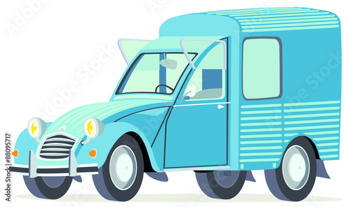 Foto Caricatura Citroen 2CV AK furgoneta azul vista frontal y lateral