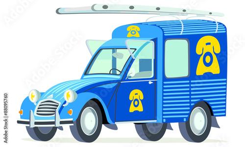 Caricatura Citroen 2CV AK furgoneta azul servico telefono vista frontal y lateral