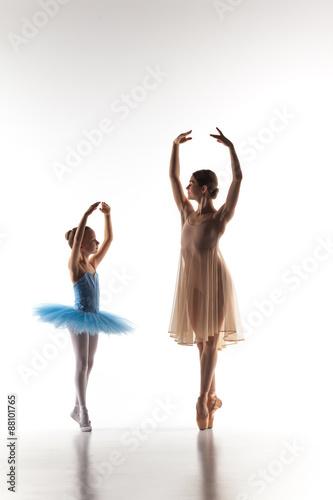 Fényképezés  The little ballerina dancing with personal ballet teacher in