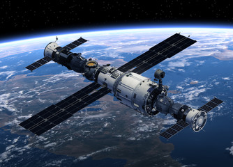 Space Station And Spacecrafts Orbiting Earth. 3D Scene.