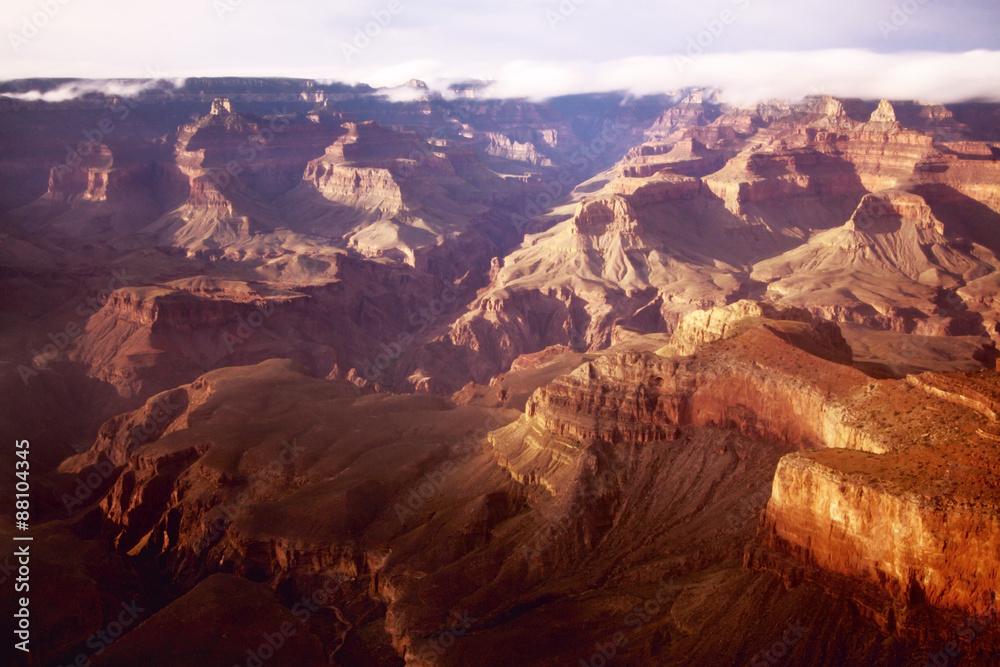 Colourful sunset at the Grand Canyon, South Rim, Arizona, USA