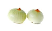 Peeled Onion On White Background