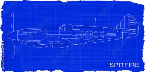 Cuadros en Lienzo Fighter Plane Blueprint