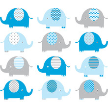 Blue And Grey Cute Elephant