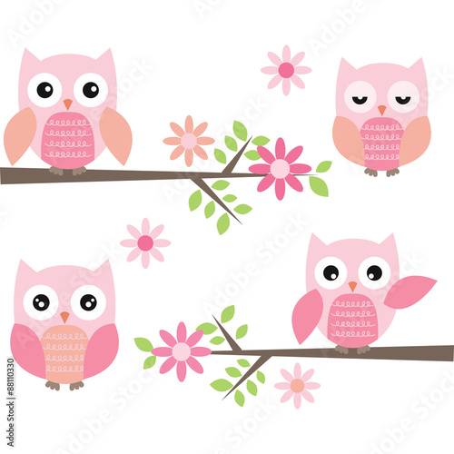 Deurstickers Uilen cartoon Cut Owl and Branches
