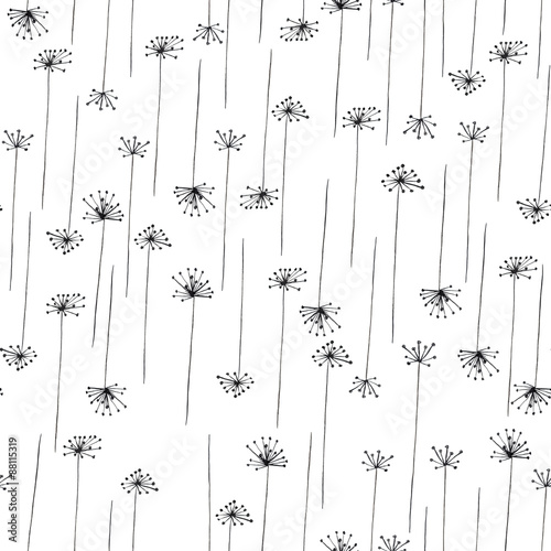 Cotton fabric Seamless pattern with black silhouette of fennel painted in watercolor on a white background