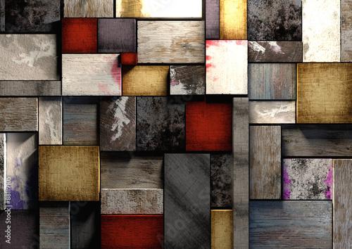 Colorful grunge textured wooden blocks background texture.