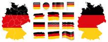Deutschland Flagge Fahne Icon Button Deutschlandkarte