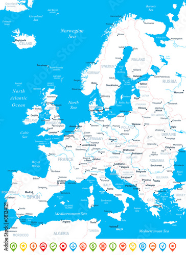 Photo Stands World Map Europe map - highly detailed vector illustration.