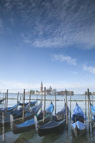 Fotobehang Gondolas San Giorgio Maggiore Church and Gondola Boats, Venice