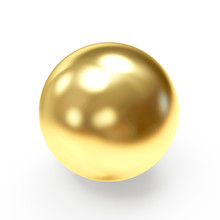 Golden Shining Sphere Isolated...