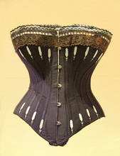 A Black Embroided Vintage Ladies Support Corset.