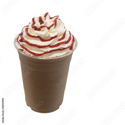 Fotografie, Obraz  cold fresh mocha coffee smoothie in takeaway glass isolated on w