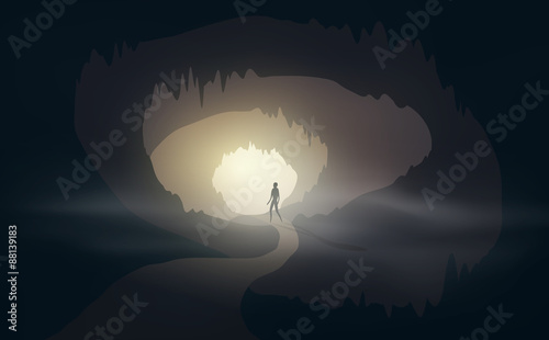Photo man at cave entrance with mist editable vector