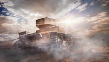 Old Rusty Tank In Cloud Of Smoke