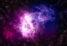 Space Nebula / High Resolution Image Of Beautifully Formed Nebula, After Space Explosion.