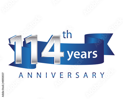 Fotografia  114 Years Anniversary Logo Blue Ribbon