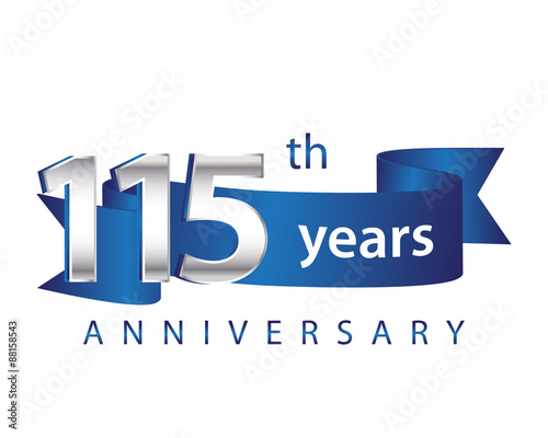 Papel de parede  115 Years Anniversary Logo Blue Ribbon