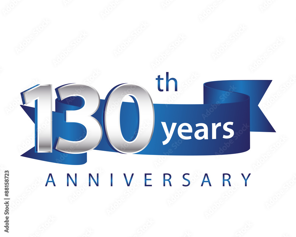 Photo  130 Years Anniversary Logo Blue Ribbon